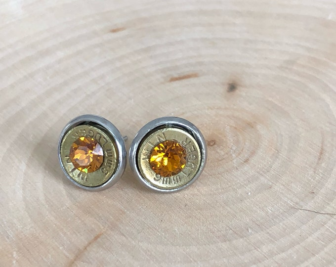 9mm brass bullet studs with orange swarovski crystals, stainless steel backings