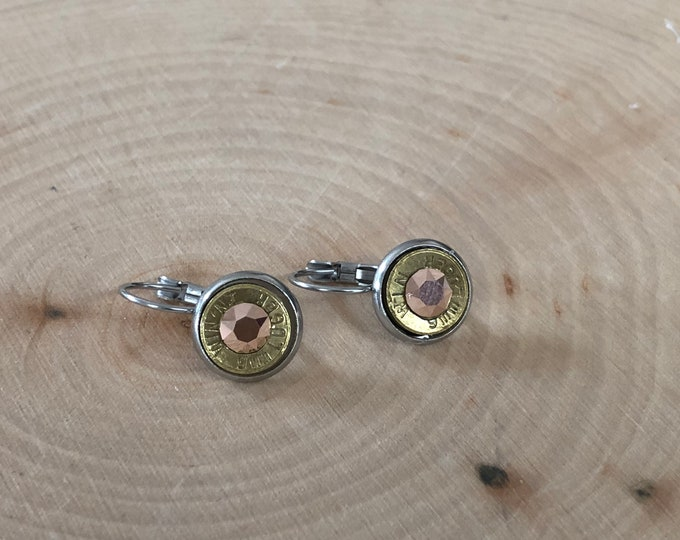 Rose gold 9mm brass bullet earrings, lever backs