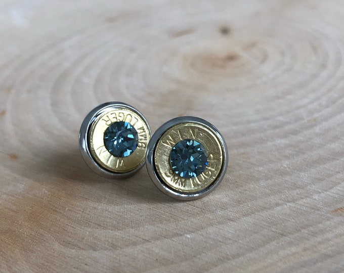 9mm brass bullet studs with blue grey swarovski crystals, stainless steel backings