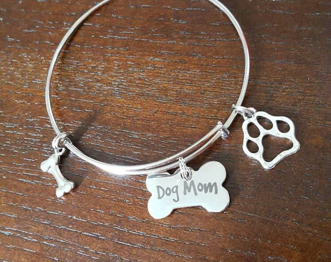 Dog mom bangle bracelet, stainless steel