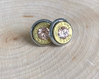 9mm brass bullet studs with lite peach swarovski crystals, stainless steel backings