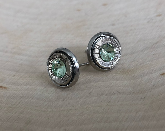 9mm light green crystal sliver bullet studs, stainless steel backings