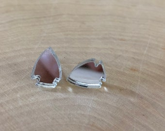 Clear reflective arrow head studs,  stainless steel posts