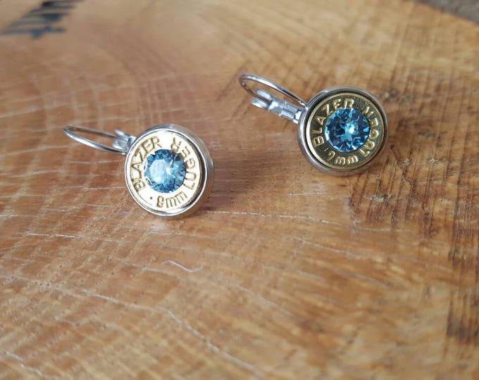 9mm dangle earrings stainless steel light blue