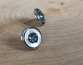 9mm grey blue crystal sliver bullet studs, stainless steel backings