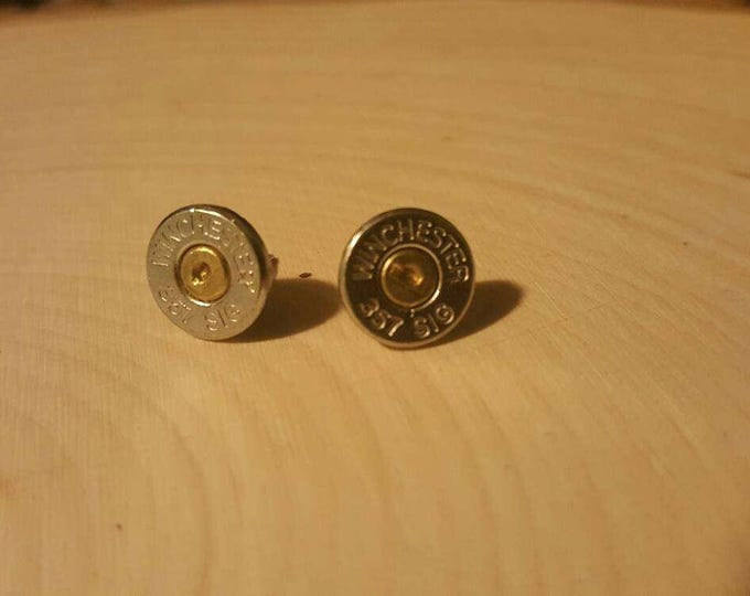 357 bullet stud earrings, stainless steel backs