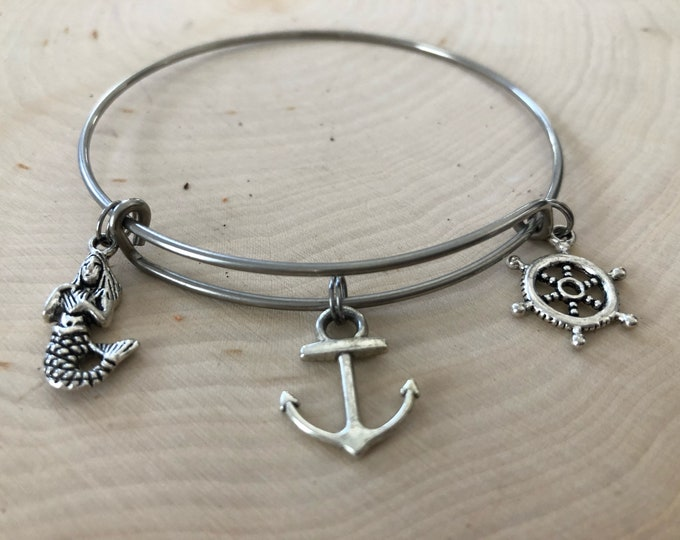ocean themed bangle bracelet, mermaid, anchor, ship wheel