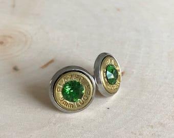 9mm stud earrings, green