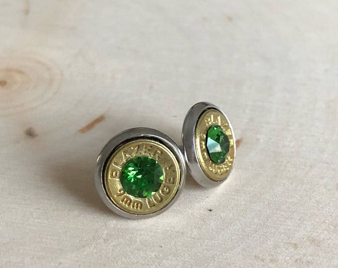 9mm stud earrings, green