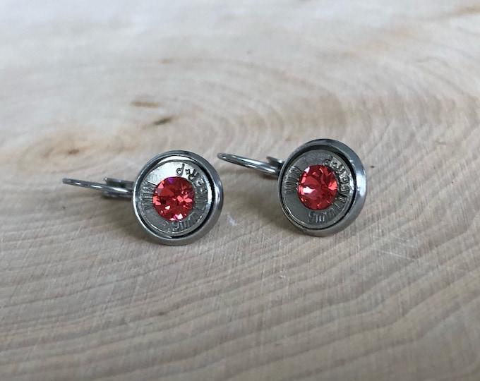 9mm silver bullet earrings, stainless steel lever backs, bright peach swarovski crystals