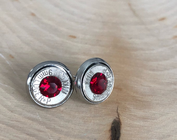 9mm red crystal sliver bullet studs, stainless steel backings
