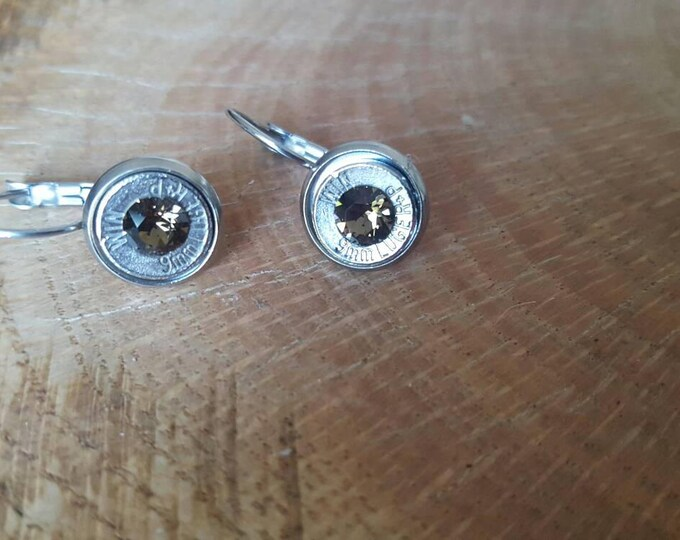 9mm brown swarovski crystals dangle stainless steel lever back earrings