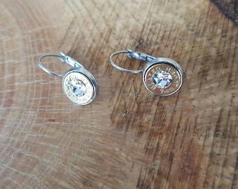 9mm clear (diamond color) swarovski crystal dangle earrings