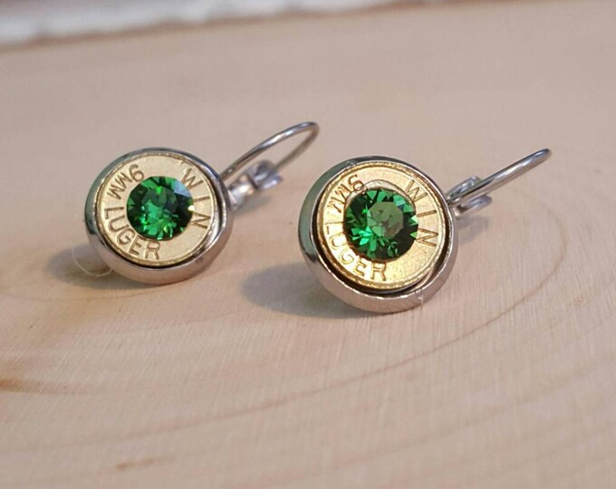 9mm light green bullet dangle earrings
