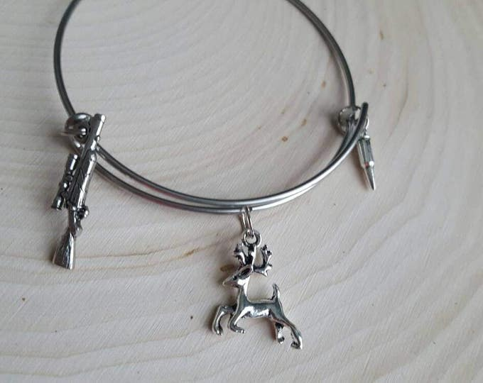 Deer hunting bangle, rifle, bullet, and deer charms