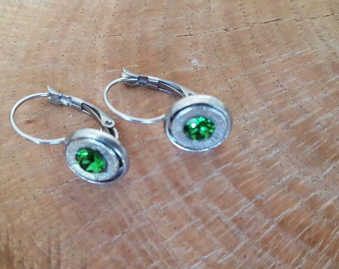 9mm light green dangle stainless steel earrings