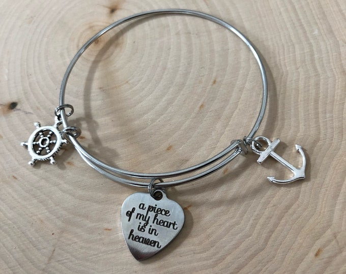 "A piece of my heart is in heaven"" bracelet with shipwheel and anchor"