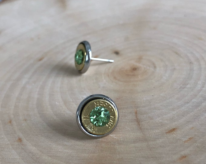 9mm brass bullet studs with lite green swarovski crystals, stainless steel backings