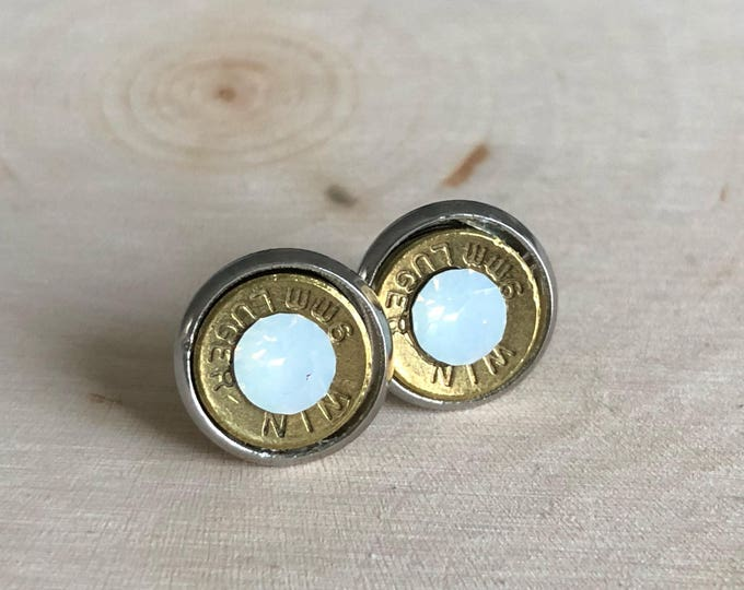 9mm white bullet earrings, stainless steel studs