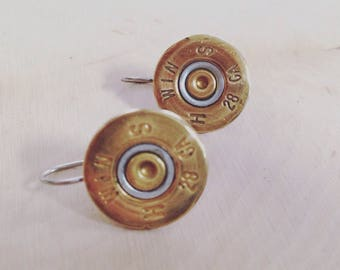 28 Gauge drop earrings, stainless steel backings, made from once fired bullet, shell casing