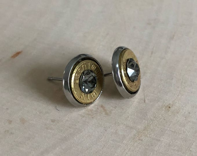 9mm clear black bullet earrings, stainless steel studs