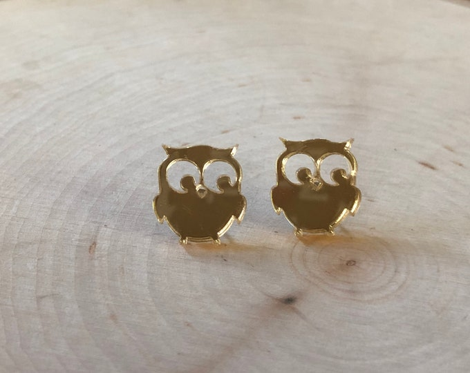 Reflective gold owl studs, stainless steel posts