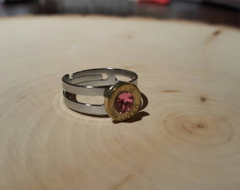 Pink ring, brass 9mm bullet, swarovski crystal, stainless steel band