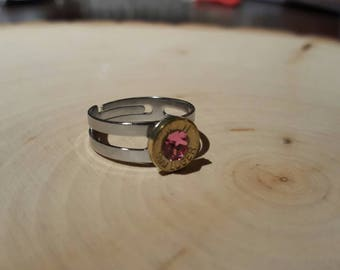 Pink ring, brass 9mm bullet, swarovski crystal, stainless steel band