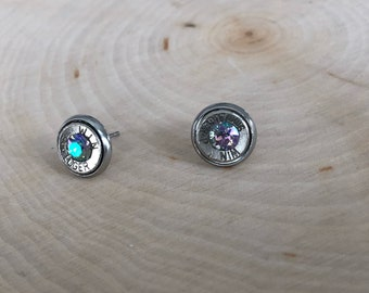 9mm rainbow crystal sliver bullet studs, stainless steel backings