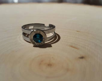 Teal swarovski crystal 9mm bullet ring, adjustable stainless steel