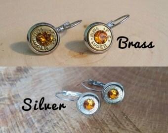 9mm bullet dangle earring orange crystals