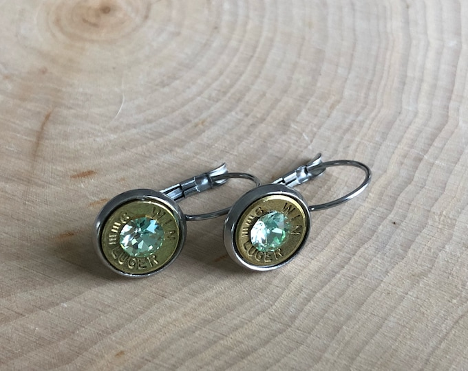 9mm brass bullet earrings, stainless steel lever backs, light green swarovski crystals
