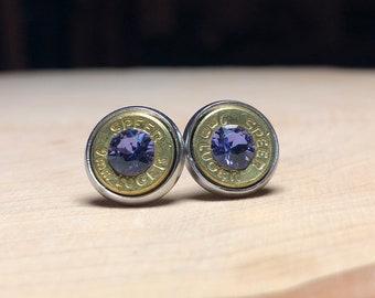 9mm purple bullet earrings, stainless steel studs