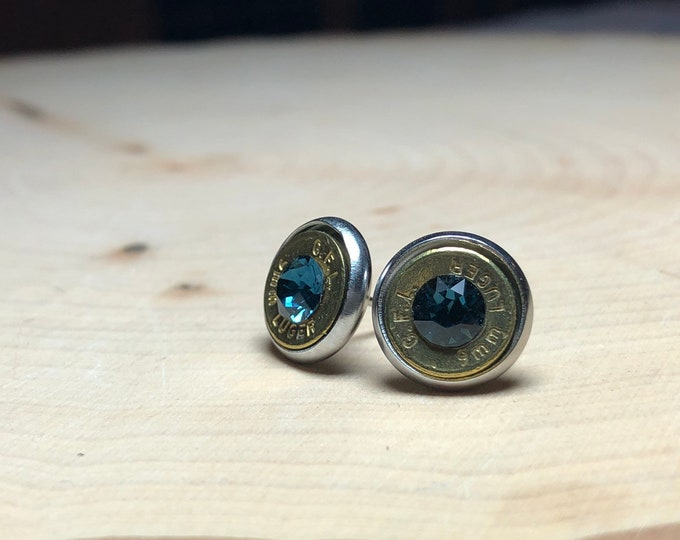 9mm brass bullet studs with navy blue swarovski crystals, stainless steel backings