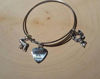 A piece of my heart is in heaven, deer, and moose charm bracelet. silver
