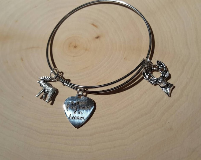 A piece of my heart is in heaven, deer, and moose charm bracelet. silver