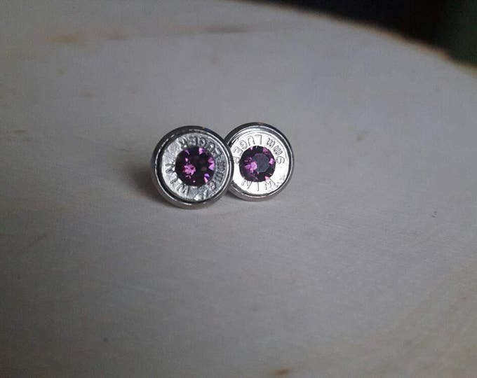 Dark purple 9mm silver stud earrings, bullet earrings. Stainless steel backs