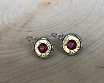 9mm brass bullet earrings, stainless steel lever backs, red swarovski crystals