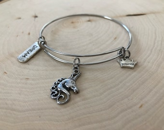 stainless steel unicorn bangle bracelet