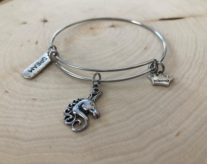 stainless steel unicorn bangle bracelet