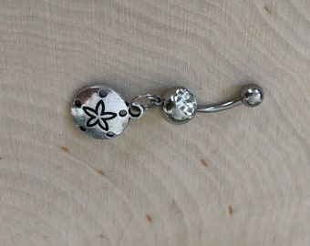 Belly button ring with sand dollar charm