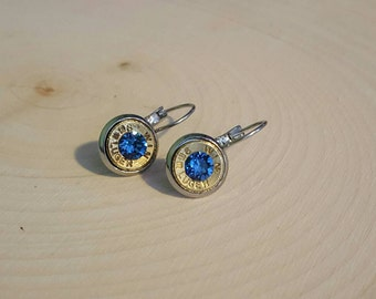 9mm dangle sapphire earrings, bullet earrings, stainless steel