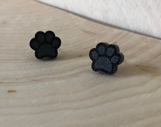 Black or Brown glitter paw studs, stainless steel posts