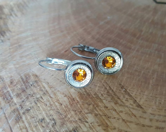 9mm orange dangle stainless steel earrings with lever backs