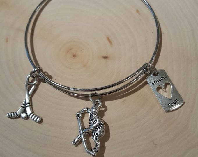 Hockey bracelet, silver
