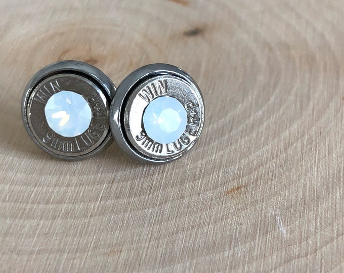 9mm white crystal sliver bullet studs, stainless steel backings