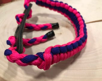 bow wrist sling, pink and purple