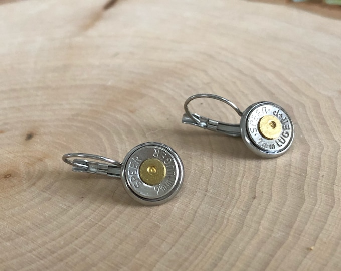 9mm silver bullet earrings, stainless steel lever backs