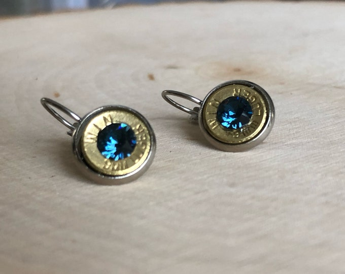 9mm brass bullet earrings, stainless steel lever backs, navy blue swarovski crystals