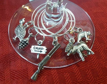 Camp wine charms, set of 6